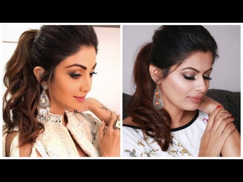 Easy Quick Puff Ponytail inspired By Shilpa Shetty | Easy Simple Diwali Hairstyle | Kavya K thumbnail