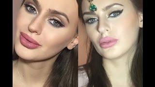 Два разных макияжа в арабском стиле кошачий глаз синий и зеленый /