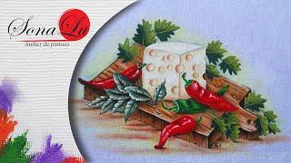 Queijo e Pimentas em Tecido – Sonalupinturas