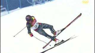 Bode Miller hits the gate! Torino 2006 Super Gigant