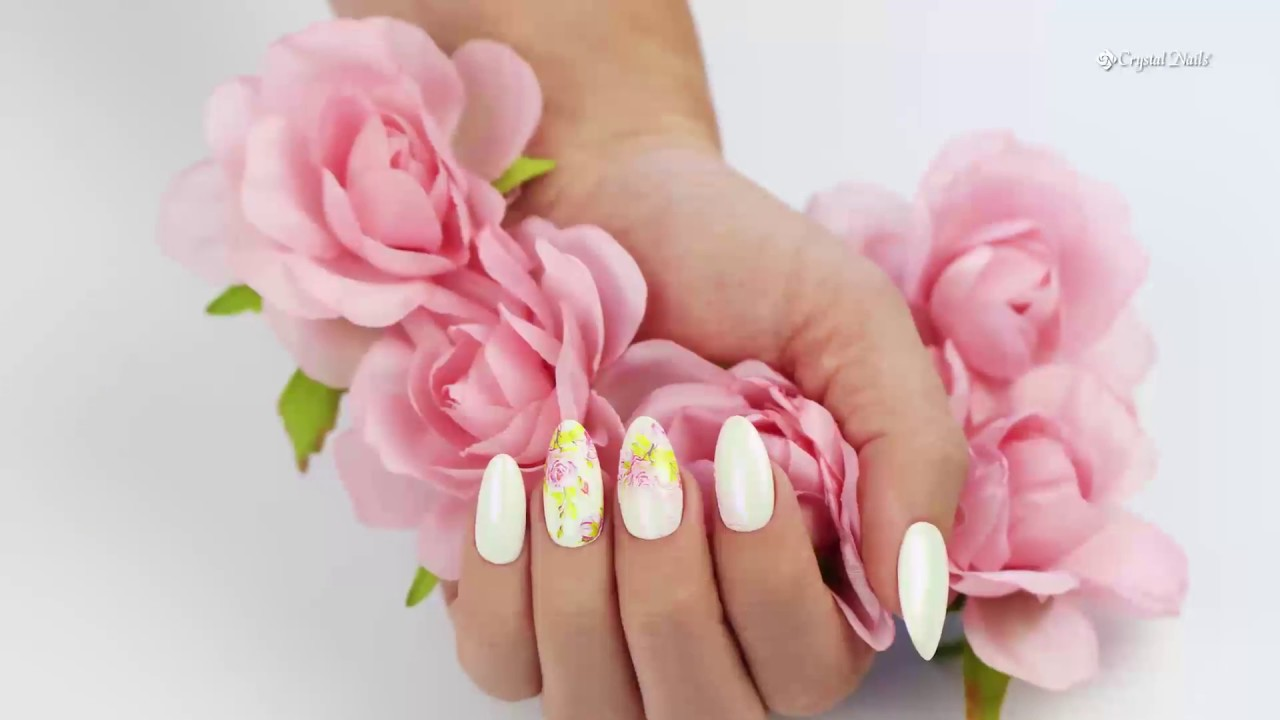 Flower Nail Art Design With Flower Nail Stickers And Royal Gel