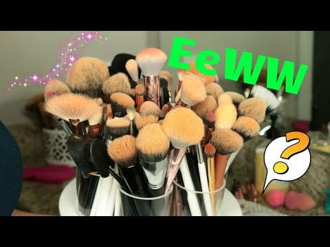 How to clean DIRTY Brushes | REAL HAIR + SYNTHETIC BRUSHES
