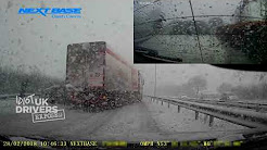 Caught on dash cam - HGV  slams into cars after an accident blocks A1 Nottingham  - Weather UK snow
