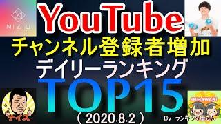 【YouTubeチャンネル登録者増加】 デイリーランキングTOP10  【 2020年8月2日 】