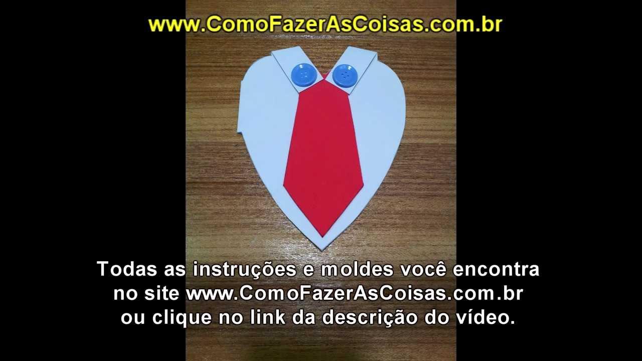 Armario Aberto Closet ~ Dia dos Pais Cart u00e3o artesanal de coraç u00e3o com gravata YouTube
