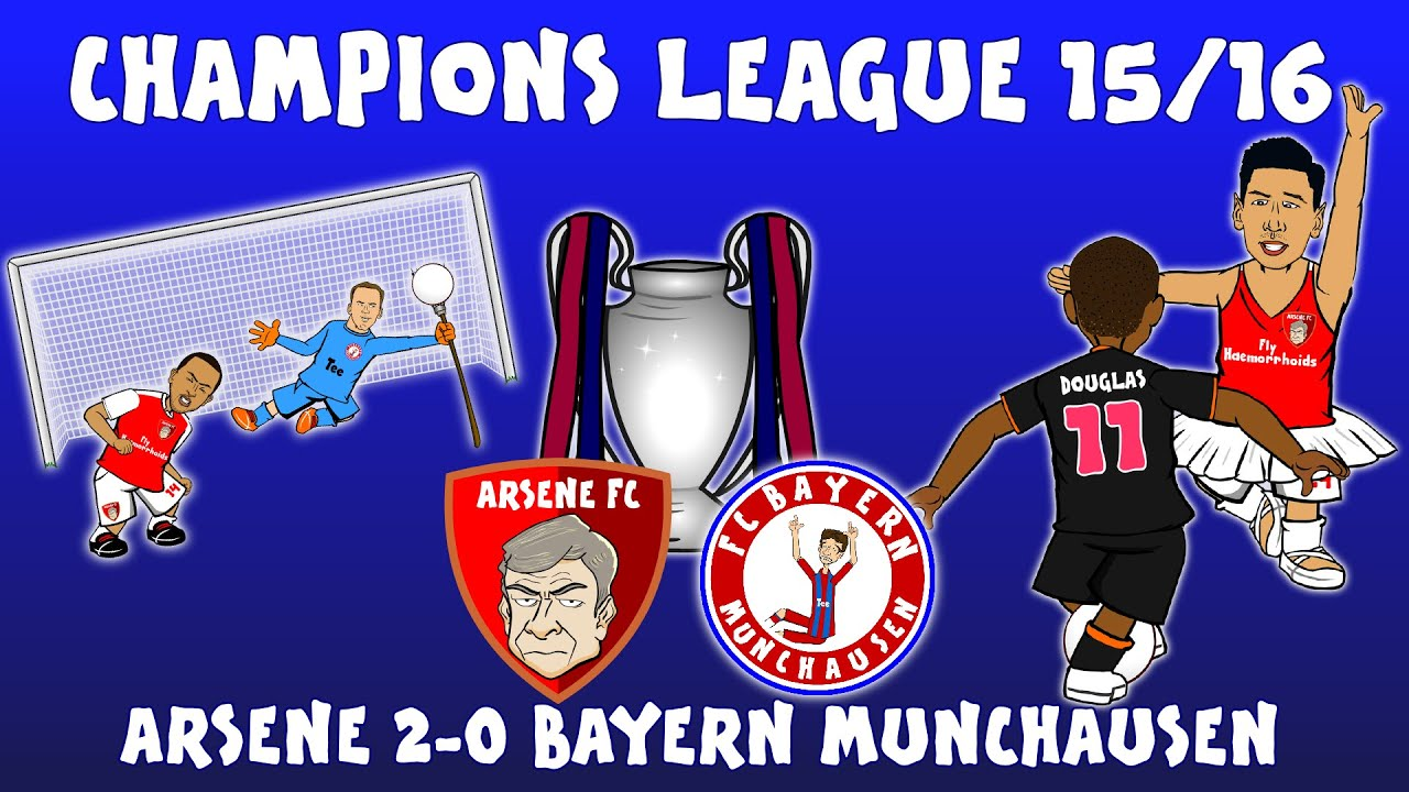 Download Arsenal 2-0 Bayern Munich (Champions League 2015/16 parody highlights and goals Ozil Giroud Costa)
