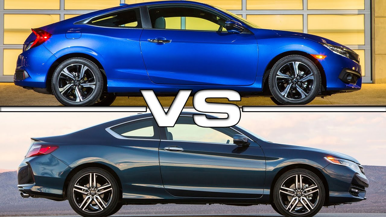 Honda civic coupe vs honda accord coupe road test youtube for Honda accord vs honda civic