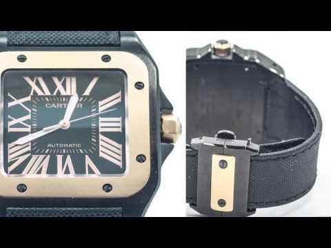 Men's Cartier Watch W2020009 Santos 100 XL 18k Rose Gold PVD Steel Watch