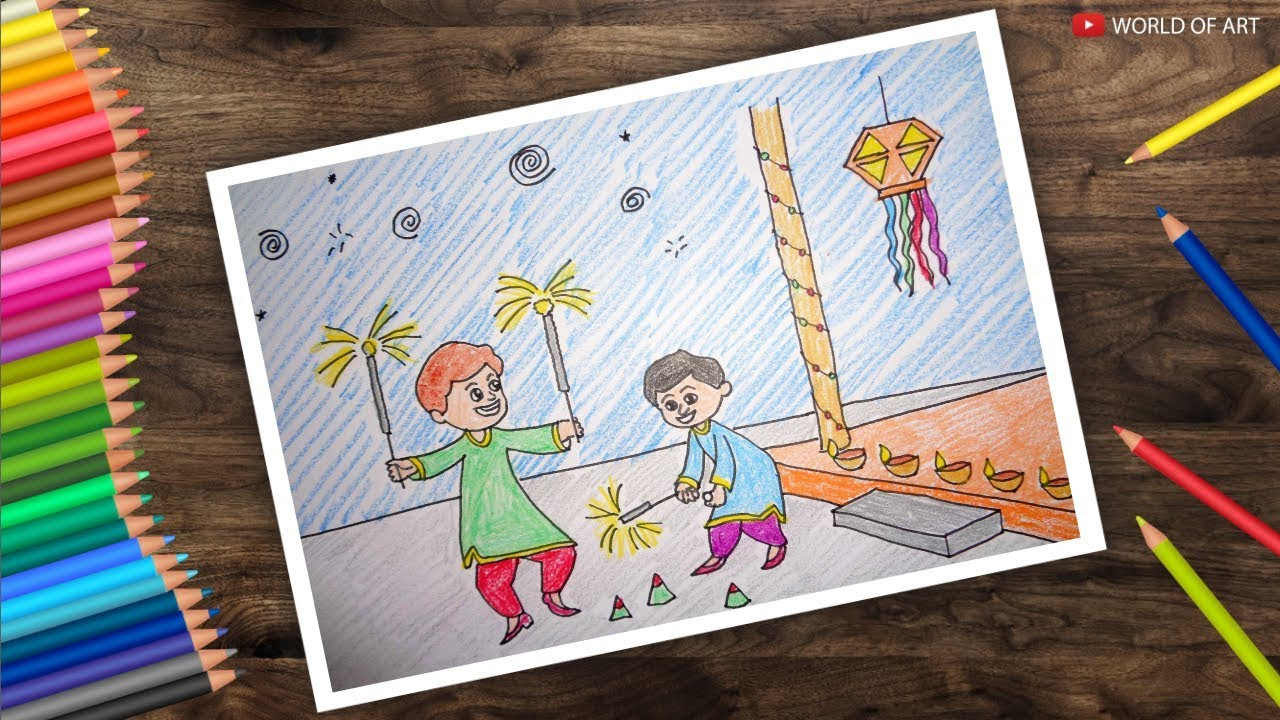 How to colour diwali festival scene diwali drawing for kids part 2