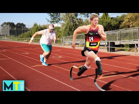 Men Try RACING A MAN WITH NO LEGS! *Olympian*