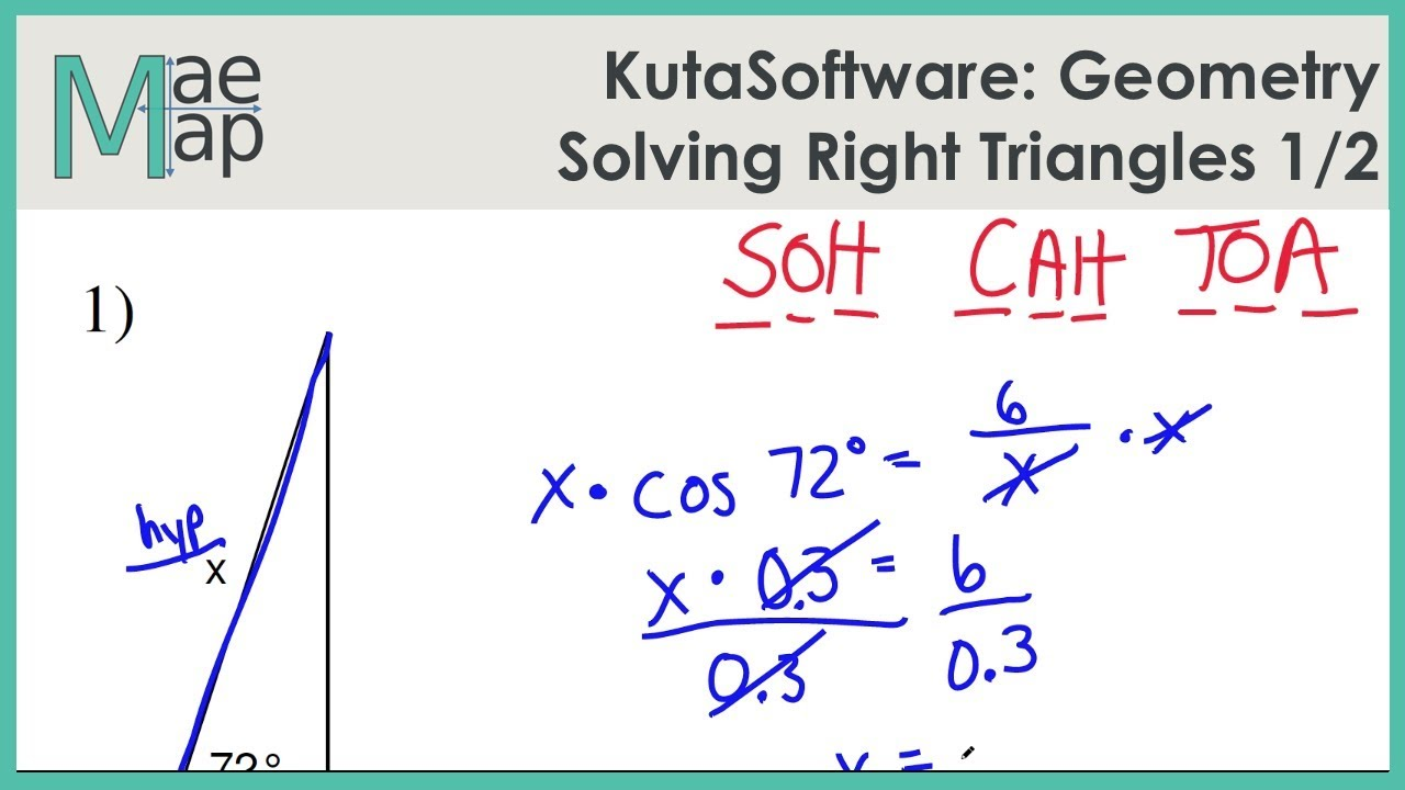 hight resolution of KutaSoftware: Geometry- Solving Right Triangles Part 1 - YouTube