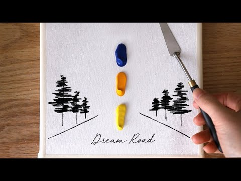 -Acrylic painting | Dream road | Painting Tutorial for beginners #98