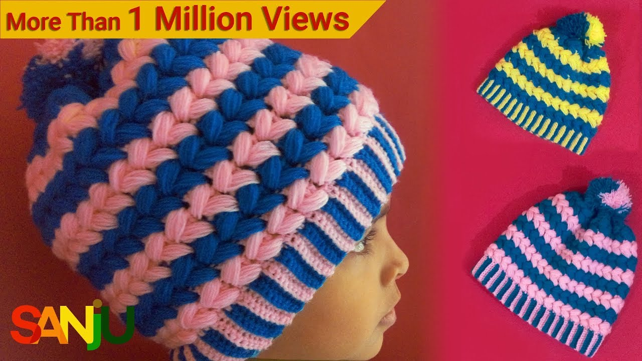 5b70eb22e8c Make crochet two color cap step by step - YouTube