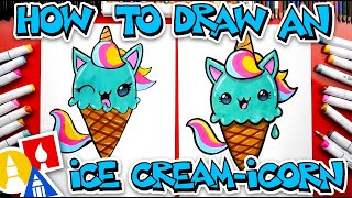 How To Draw A Unicorn Ice Cream Cone (Ice Cream-icorn)