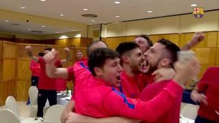 Futsal team celebration after Barça defeats PSG