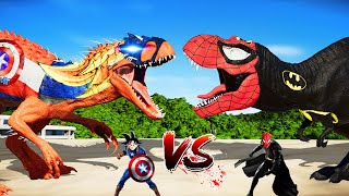 (Jurassic World Evolution🌍) Goku Captain I-Rex Vs Bat SpiderMan T-Rex Dinosaurs Fight