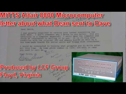 MITS Altair 8800 Microcomputer letter of parts shipped to Dave 12-01-11