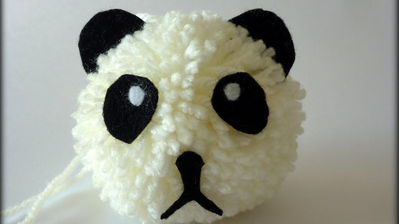 tuto panda pompon laine avec b b clochette youtube. Black Bedroom Furniture Sets. Home Design Ideas