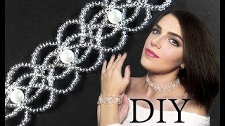 DIY: Wedding EASY beaded choker (necklace) with pearls / Свадебный чокер из бисера и жемчуга ЛЕГКО!