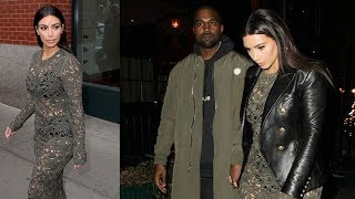 Kim Kardashian Wears See-Through Dress To Dinner With Kanye West And Anna Wintour [2014]