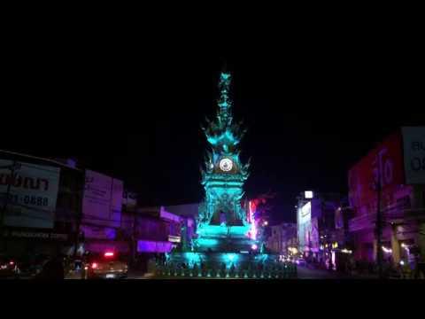 CHIANG RAI GOLDEN CLOCKTOWER LIGHT SHOW / QUEEN SIRIKIT CLOCK TOWER