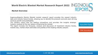 Global Electric Blanket Market Size, Share, Trends and Opportunity Reports