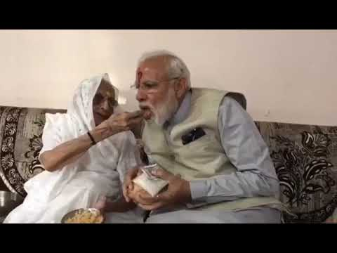 PM Narendra Modi meets mother Hiraba ahead of casting vote in Gujarat