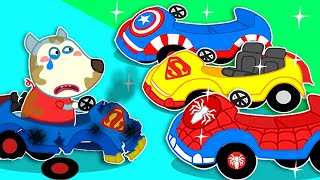 Wolfoo Rides on Superhero Car Collection | Wolf family cartoon for kids