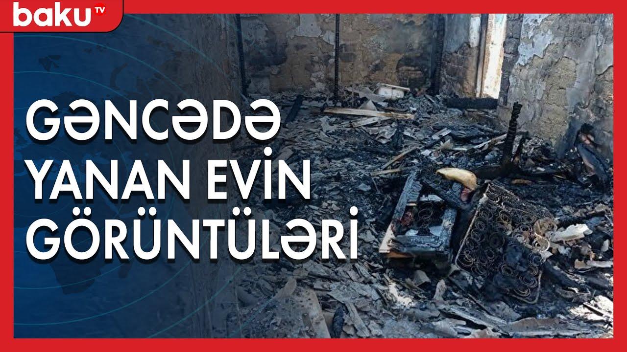 Gəncədə yanğın: Ata və iki uşaq öldü - Baku TV
