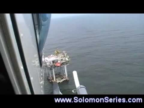 An Offshore Helicopter Landing. United States Gulf of Mexico Oil Platform
