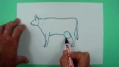 Wie zeichnet man auf einfache Weise eine Kuh? Zeichnen für Kinder