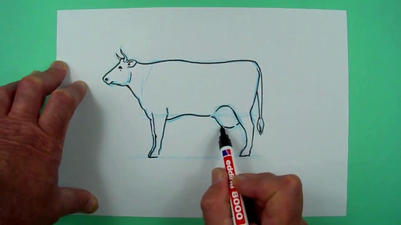 wie zeichnet man auf einfache weise eine kuh zeichnen f r kinder youtube. Black Bedroom Furniture Sets. Home Design Ideas