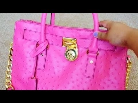 28f791529e83 Michael Kors Hamilton Ostrich Embossed Tote Bag, - My First Designer Bag ♥  - YouTube