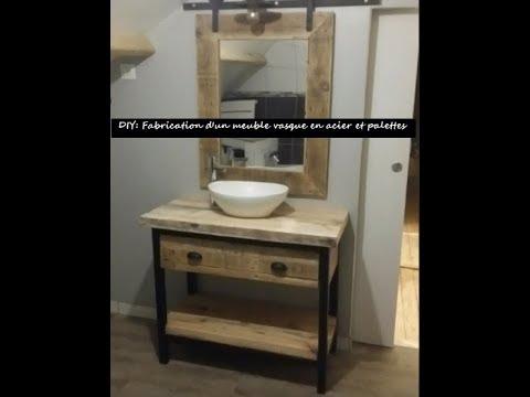 Fabrication d\'un meuble vasque acier et palettes