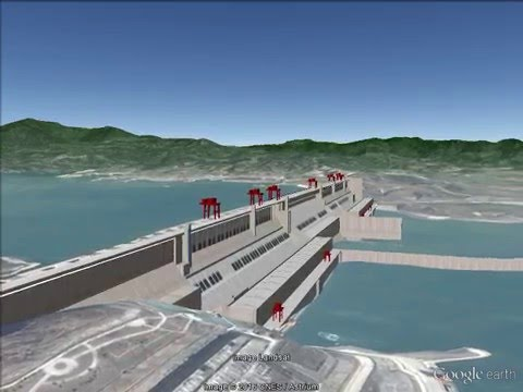 Three Gorges Dam and Shanghai Google Earth Pro movie