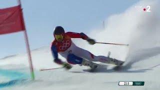 JO 2018 : Ski alpin -Slalom Géant hommes. Mathieu Faivre atteint la deuxième manche du Slalom Géant