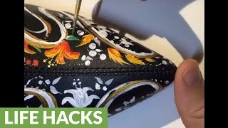 Time lapse documents amazing hand-painted boots