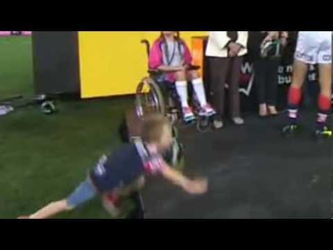 Kade 'Unruly NRL Kid' Maloney scores Try in NRL Grand Final Presentation