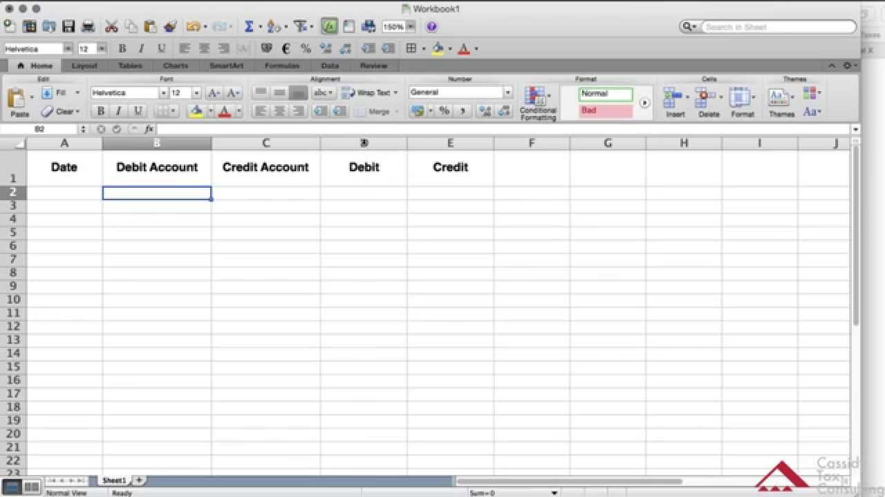 create a general ledger using excel youtube