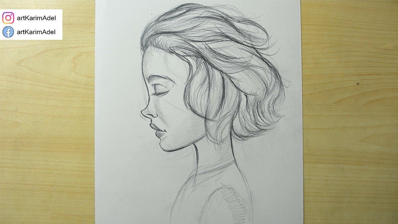 تعلم رسم وجه بنت سهل بالرصاص رسم بورتريه جانبي لفتاه خطوة بخطوة