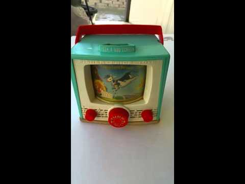 Vintage 1964 Fisher Price 196 Peek A Boo Screen Hey Diddle Diddle TV Music Box