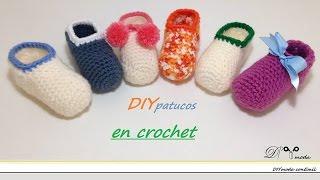 Repeat youtube video Cómo tejer zapatitos o patucos de bebé en crochet
