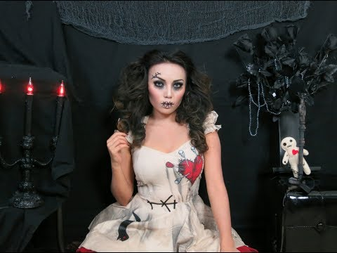 creepy stitched doll makeup