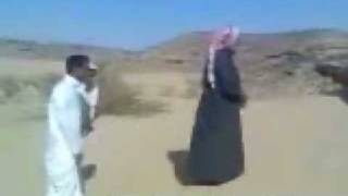 Kidding with muslim prayer in desert