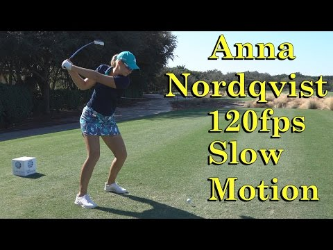 ANNA NORDQVIST 120fps SLOW MOTION DTL OFFSET DRIVER GOLF SWING 1080 HD