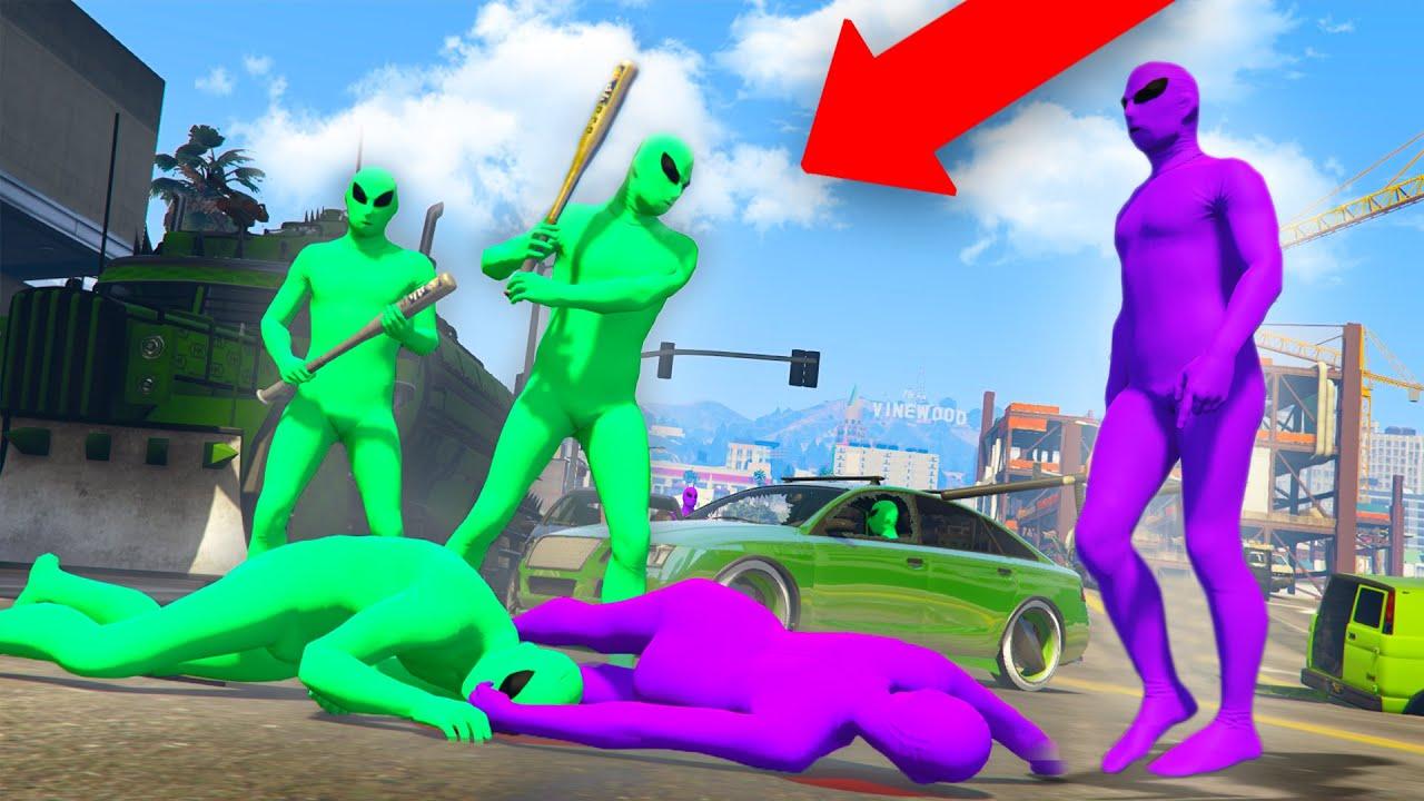 GREEN VS PURPLE! *ALIEN GANG WAR!* | GTA 5 THUG LIFE #335