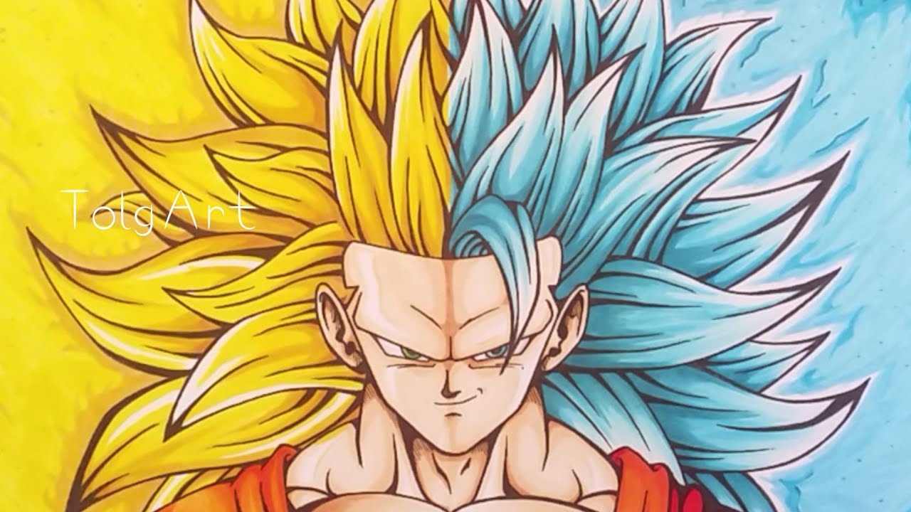 Drawing goku super saiyan 3 super saiyan blue 3 tolgart youtube - Super sayen 10 ...