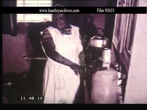 Poor black servant in white South Africa.  Archive film 92633