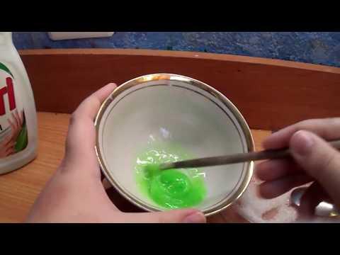 флаффи слайм из моющего средства для посуды #2