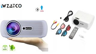 WZATCO CTL80 TV LED Projector Upgrade Android 7.1 WIFI Portable LCD Projector